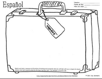 spanish clothing travel suitcase sketch and label and vocabulary spanish clothing unit how. Black Bedroom Furniture Sets. Home Design Ideas