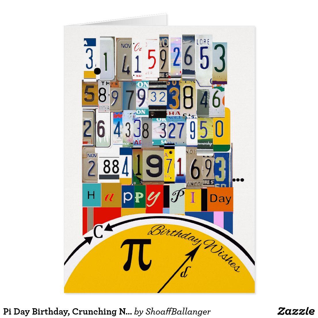 Pi Day Birthday Crunching Numbers Card