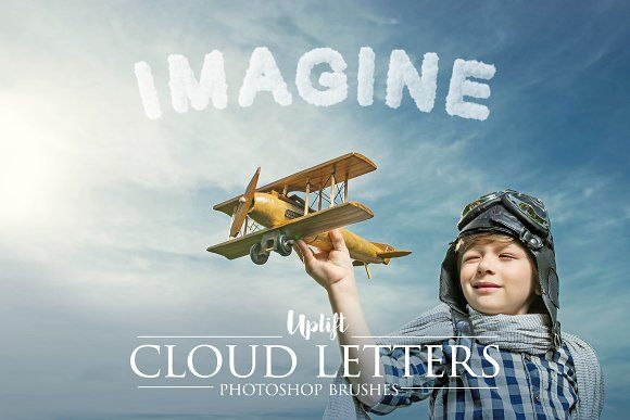 40 Cloud Letter Photoshop Brushes by Uplift Actions on @creativemarket