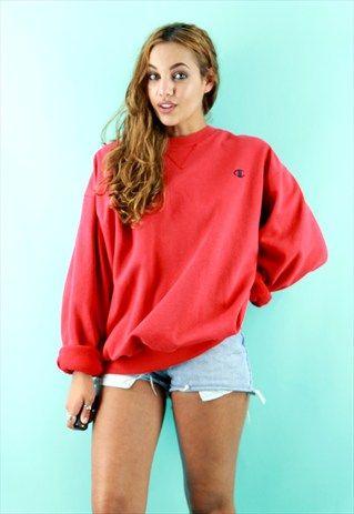 a5b0b01b95c5 Original Vintage Champion Red Crew Neck Sweatshirt