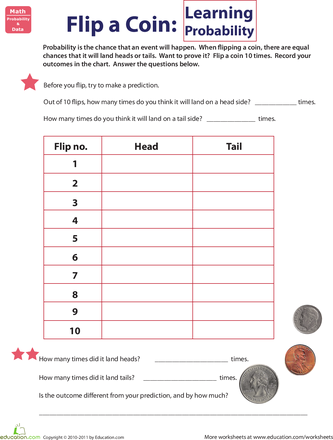 Flip A Coin Learning Probability Worksheet Education Com Probability Worksheets Probability Math Probability Lessons