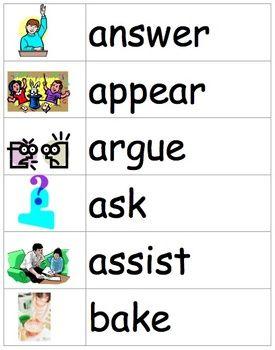Verbs Word Wall | Writers Workshop | Verb words, Words, Grade 1 english