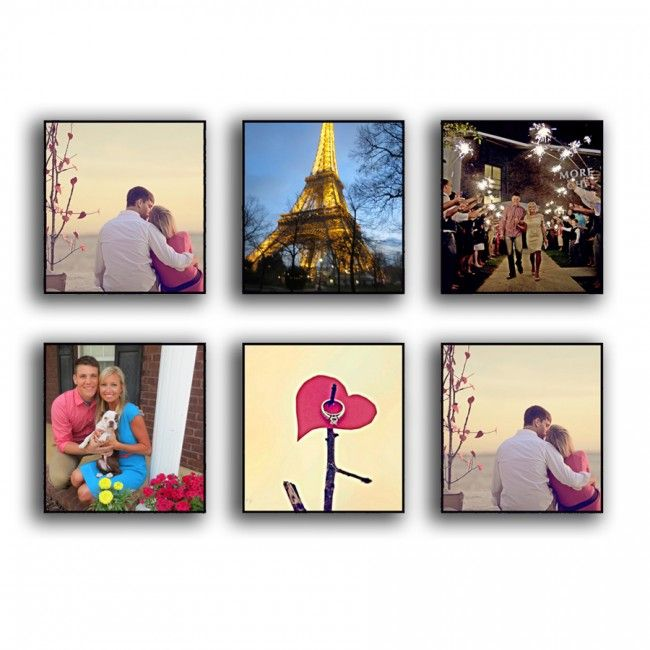 Instagram photo printed to canvas gallery wall package six 8x8 inch