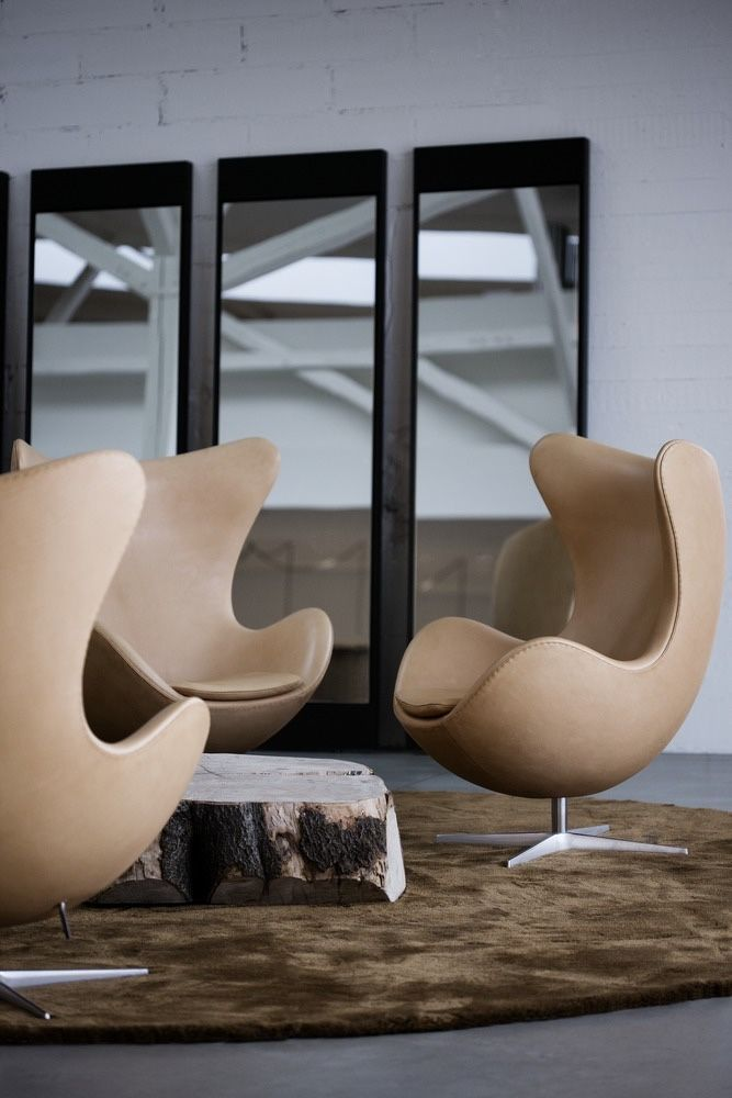 Egg chairs in leather