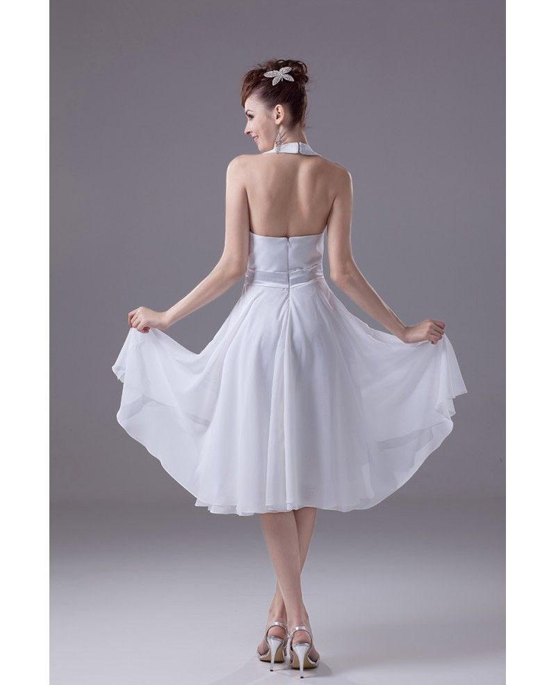 Casual short wedding dresses with straps simple halter neck style