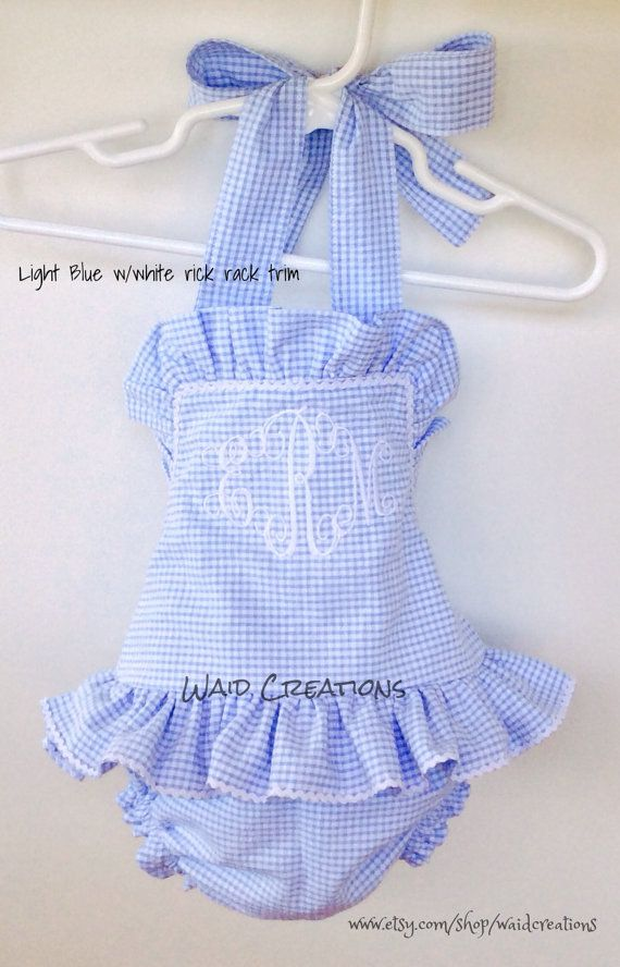 0186e2e812601 Baby bathing suit, Monogrammed infant girl swimsuit gingham handmade ...