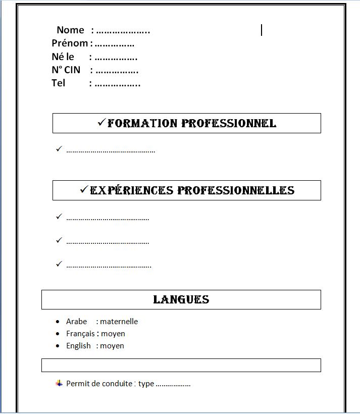 نموذج سيفي بالفرنسية بحث Google Exemple Cv Curriculum Vitae Modele Cv