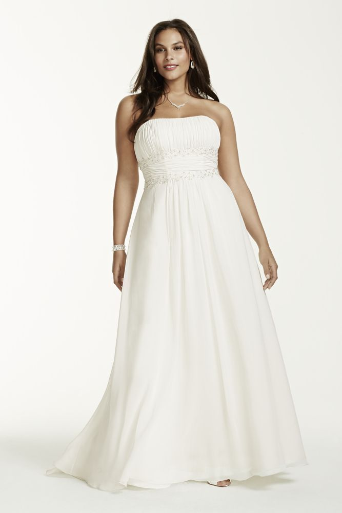 Extra Length Chiffon Beaded Empire Plus Size Wedding Dress Ivory 30w