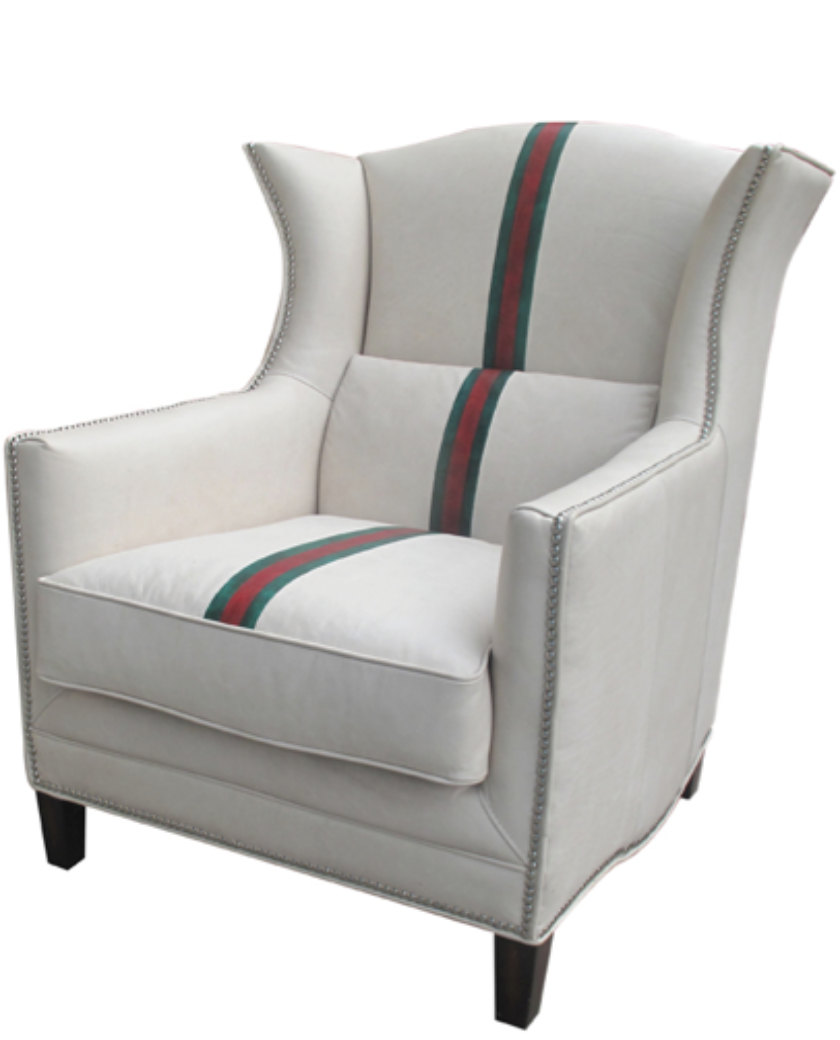 White leather wing chair - Empoli White Leather Wing Chair Allissias Attic Vintage French Style