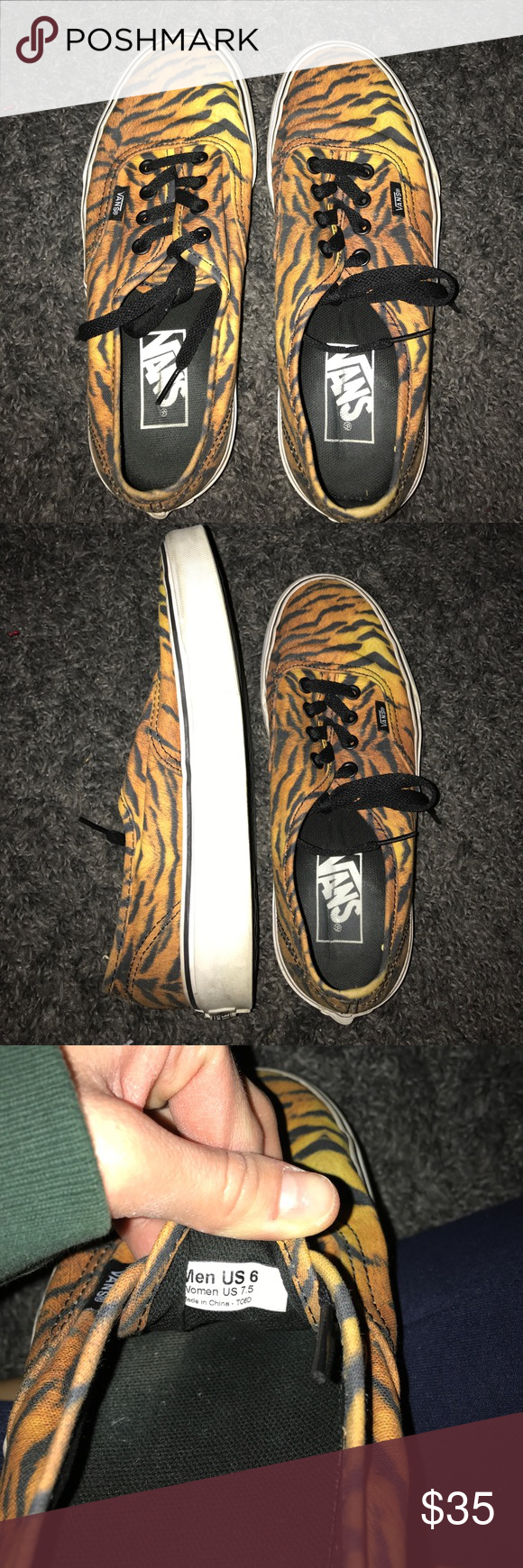 Vans Tiger Print In great condition, love this unique print!!  Vans Shoes Sneakers