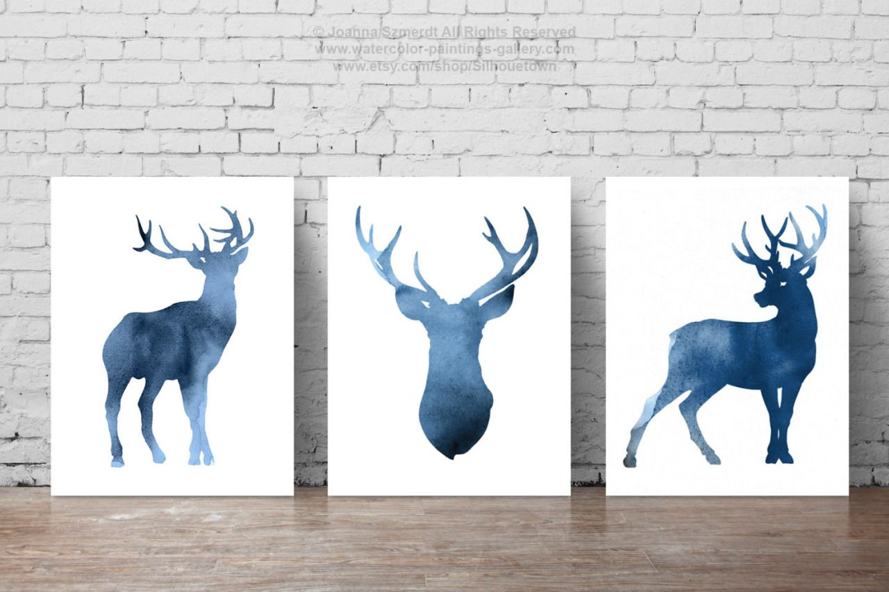 Navy Deer Set of 3, Watercolor Painting, Blue Deer Head Silhouette, Kids Wall Decor, Abstract Animal Print by Silhouetown (40.00 USD) http://ift.tt/1TEYyPn