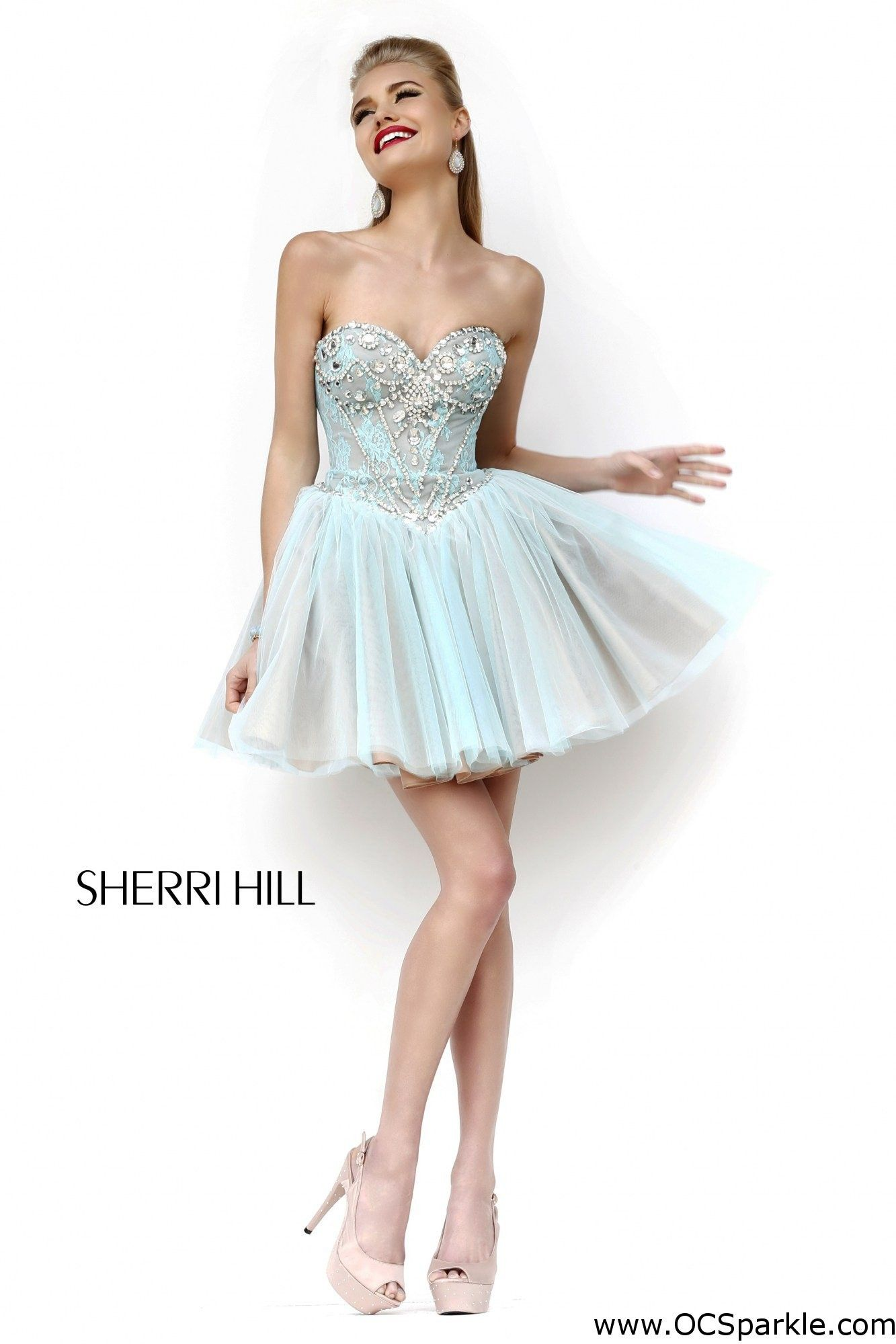 Sherri Hill 21156 Pink/Nude/Silver Sleeveless Dress, ideal for ...