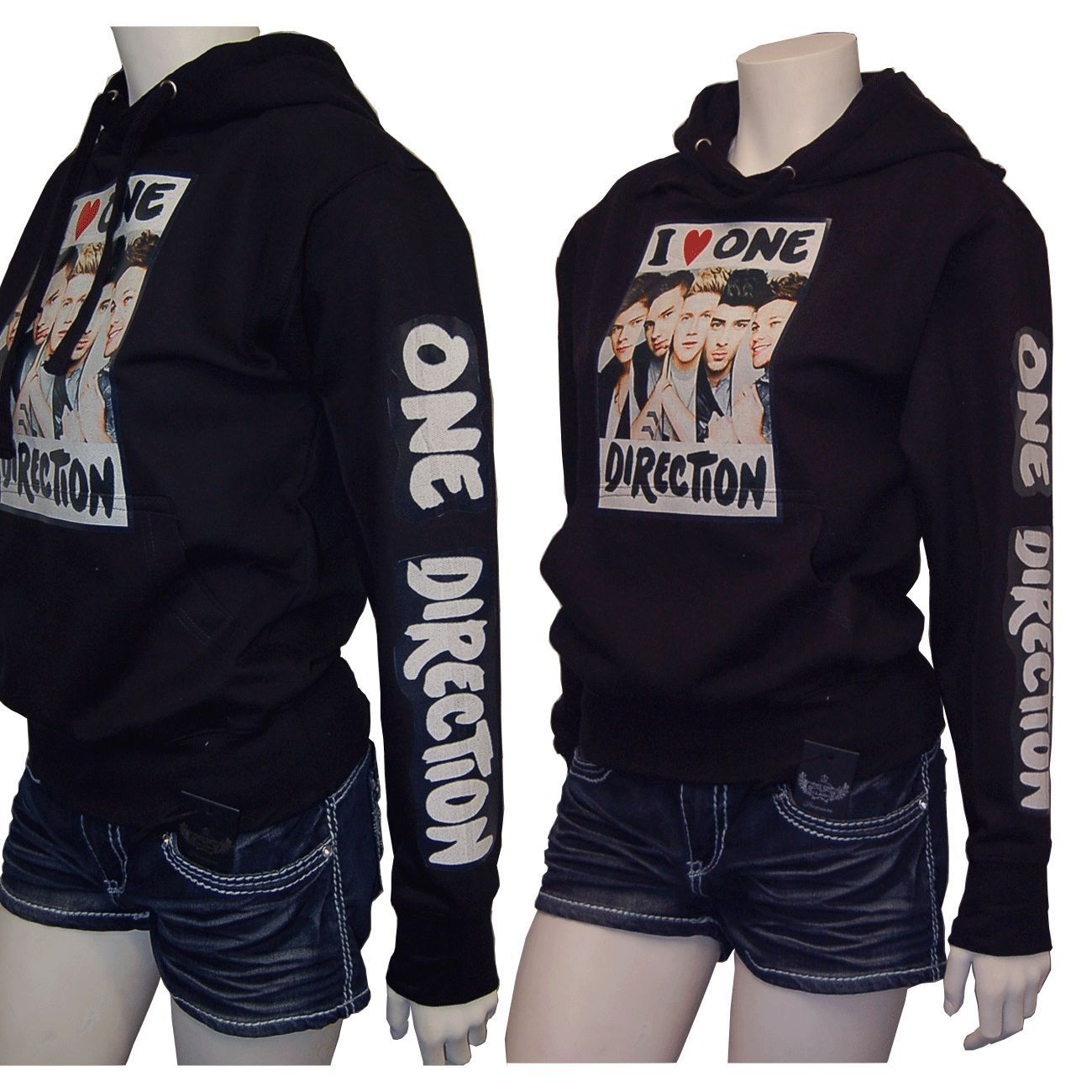 b2a0d8e0309e ONE DIRECTION 1D PVC Printed Black Pullover SweatShirt w Hoodie Size Medium