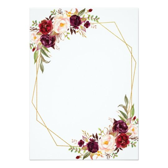 Burgundy Floral Calligraphy Geometric Wedding Invi
