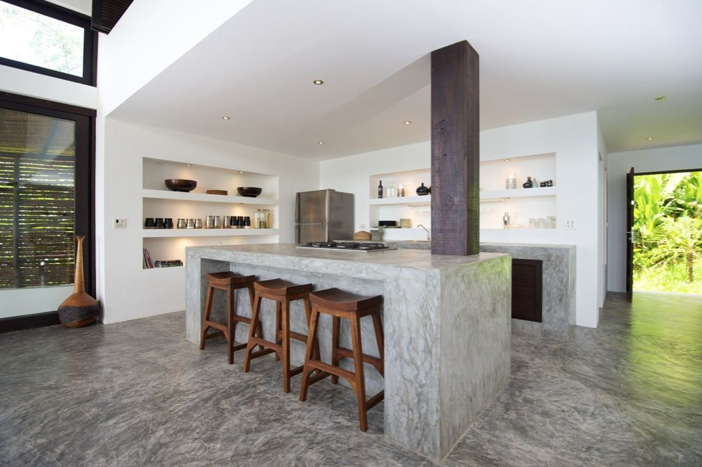 polished concrete countertops modern kitchen interior design - Kitchen Island Countertop