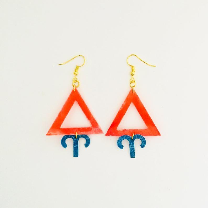 Aries zodiac resin earrings Fire sign