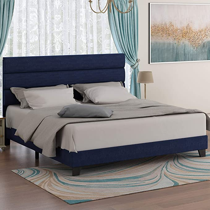 Amazon Com Amolife Full Size Linen Fabric Upholstered Bed Frame