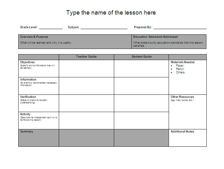 Sample Weekly Lesson Plan Preschool Weekly Lesson Plan Template – Lesson Plan Template for Word