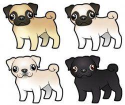 Four Cute Cartoon Pugs Pinterest Pug Art