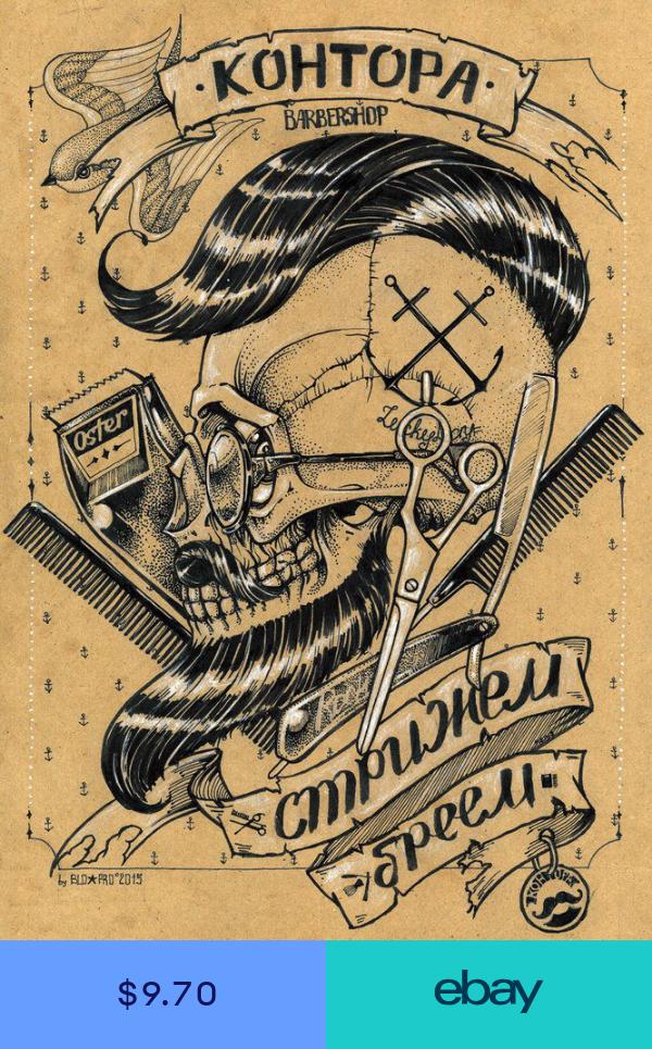 Vintage Barber Shop Tattoos Patterned Posters Kraft Paper Interior Wall Sticker Hairdresser Tattoos Barber Tattoo Barber Shop