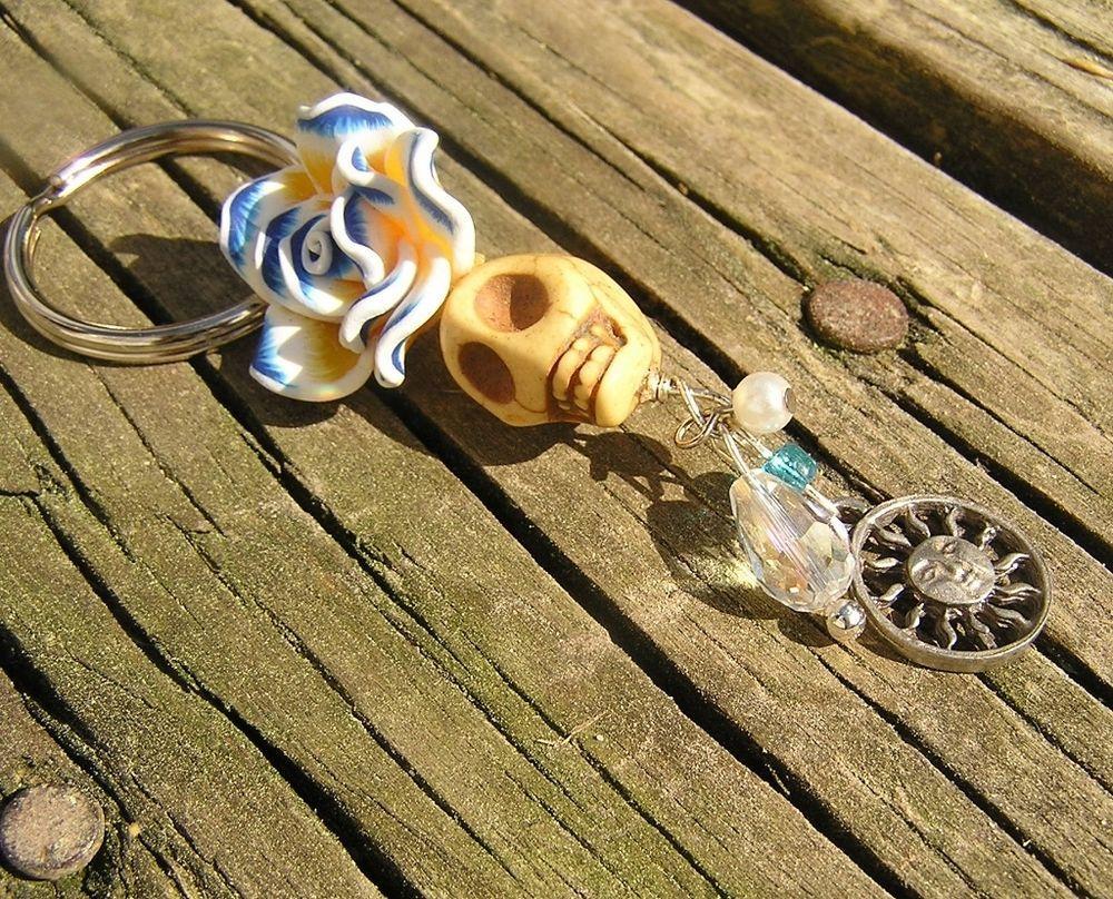 Day of the dead Sugar Skull yellow blue white Key chain Keychain Key ring Sun  #donnaelizabeth