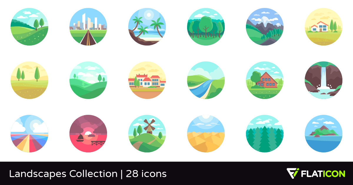 28 Free Vector Icons Of Landscapes Collection Designed By Freepik Sims 4 Collections Sims 4 Body Mods Sims 4