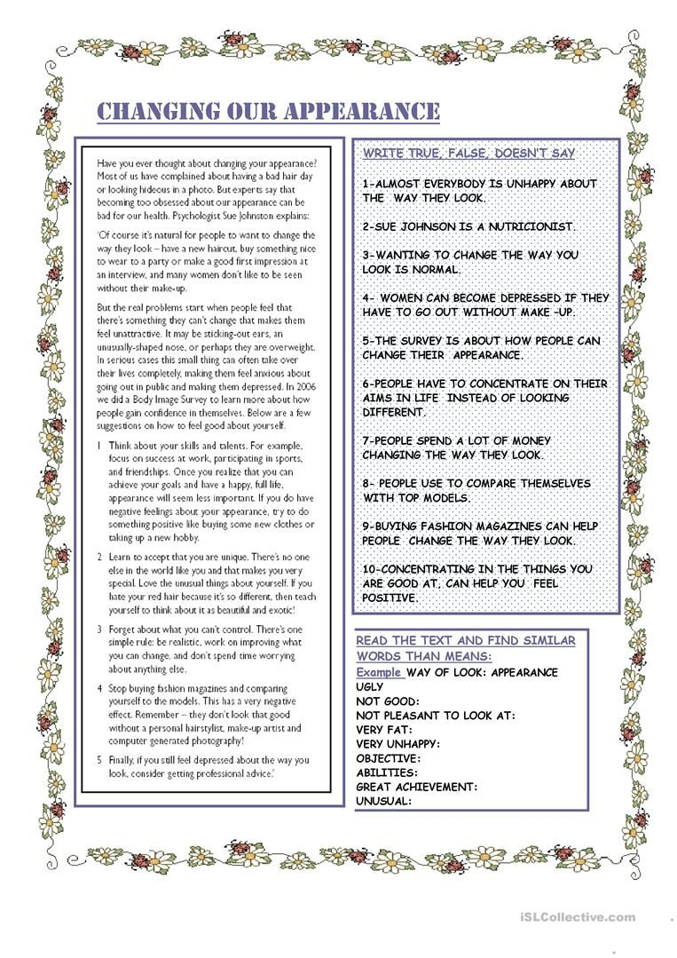 Changing Our Appearance Worksheet Free Esl Printable Worksheets Made By Tea Reading Foundational Skills Reading Comprehension Worksheets Printable Worksheets [ 1079 x 763 Pixel ]