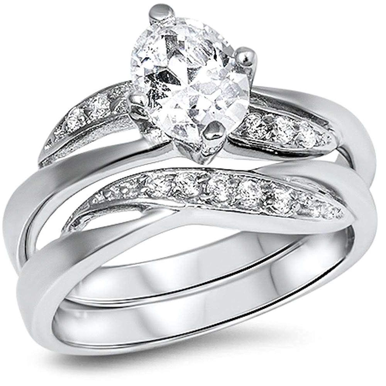 Fine Cz Wedding Engagement Set .925 Sterling Silver Ring