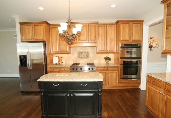 Oak Cabinets And Black Painted Island Kitchens Pinterest