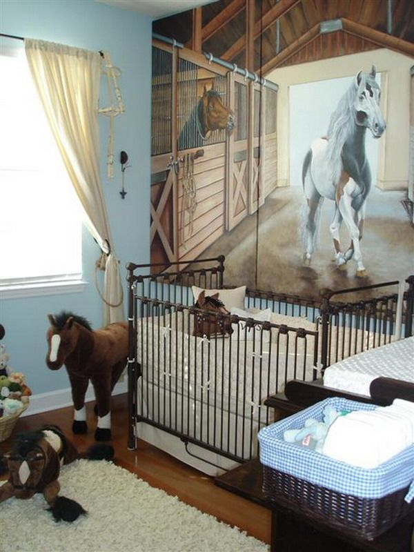 Baby Nursery Room With Horse Wall Mural Wallpaper