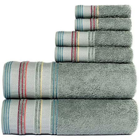 Bath Towels At Walmart Delectable Yves Cotton Yarn Dyed Jacquard 6Piece Towel Set  Walmart Inspiration Design