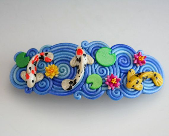 Koi Pond French Barrette in Polymer Clay Filigree by StarlessClay