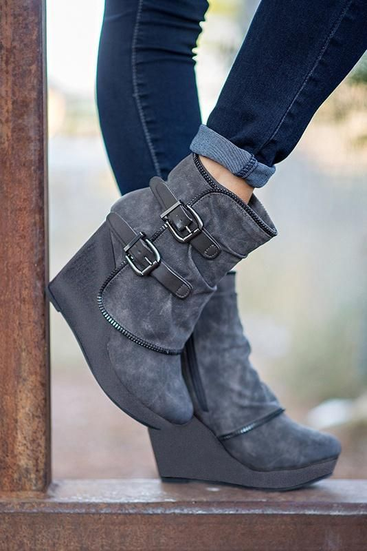 078351ae9f71 Sexy Women Double Buckle Casual Style Boots Autumn Winter Zipper Ankle  Wedge Heel Comfortable Boots Cute