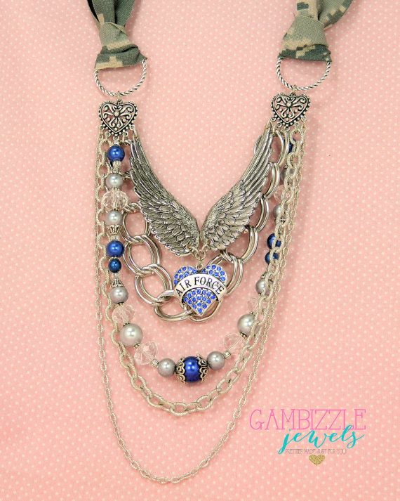 silver and blue ABU air force wife mom necklace by GambizzleJewels