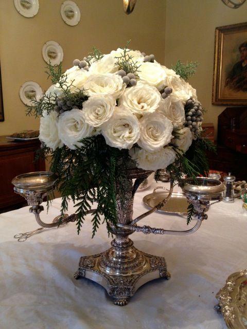 Silver Epergne Floral Arrangement For Christmas Elegant