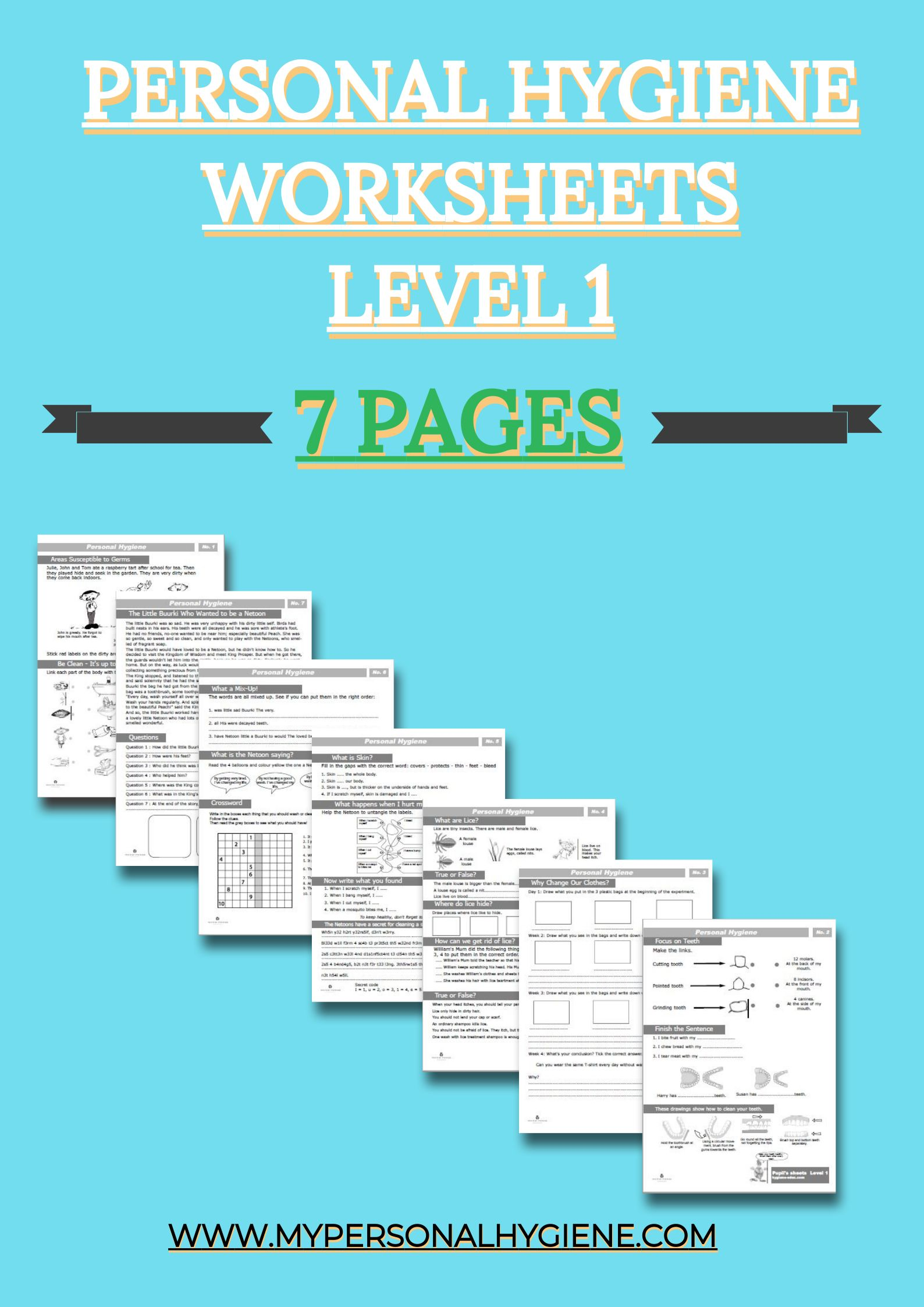 Level 1 one of Personal Hygiene Worksheets For Kids. The activities ...