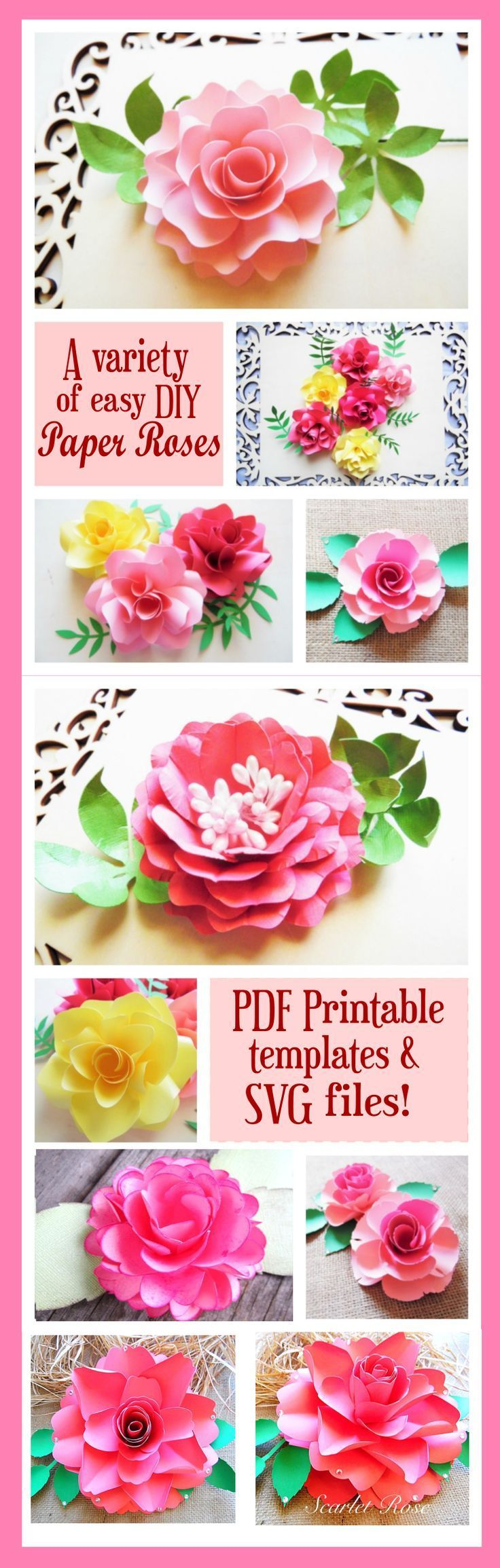 A variety of step by step paper rose DIY tutorials for Silhouette
