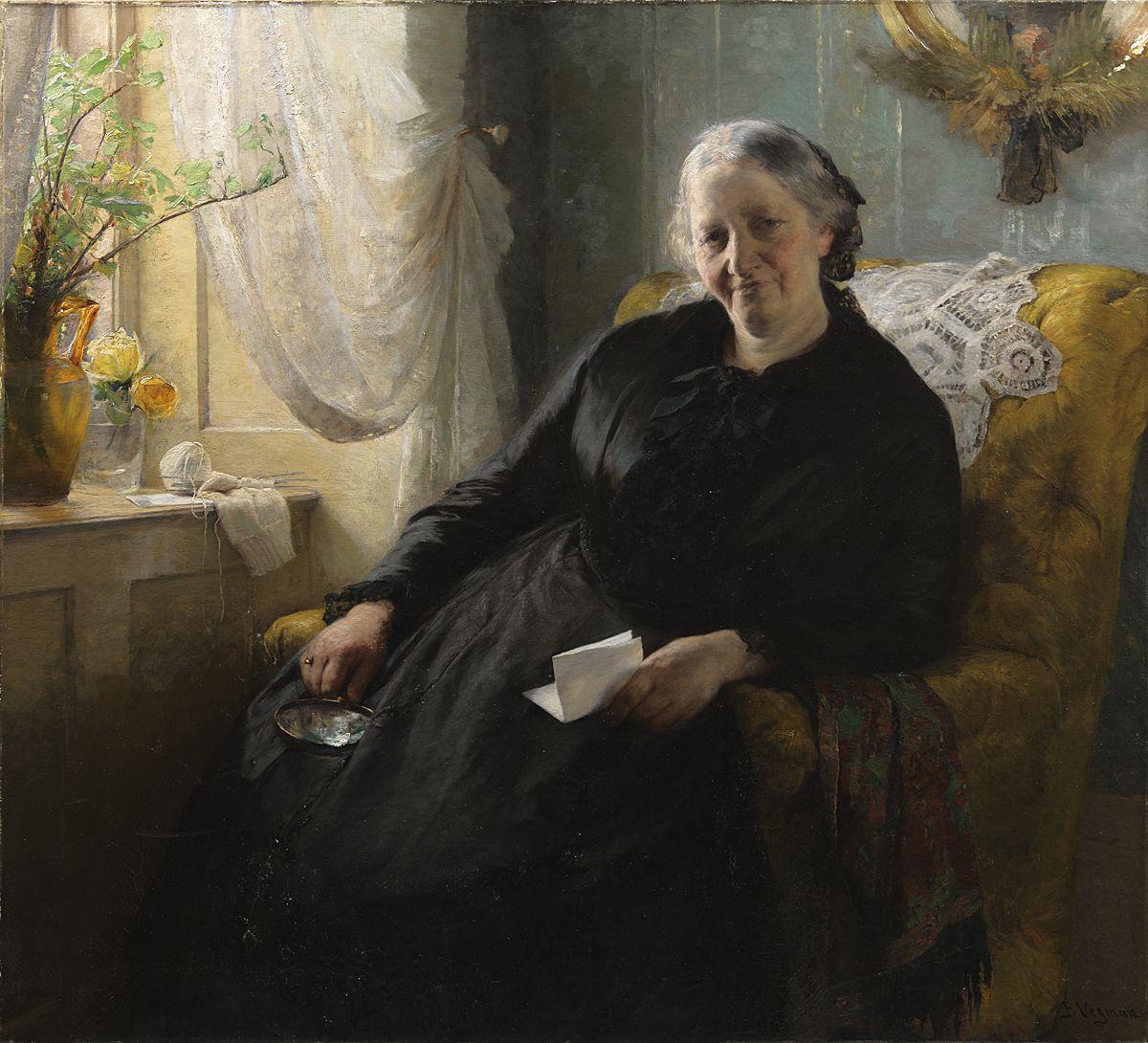 Bertha Wegmann Danish 1847 - 1926 Portrait Of Cecilie