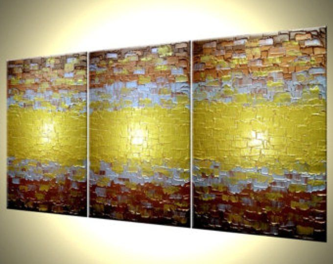 Abstract Gold Painting, Textured Metallic Art, Large Copper ...