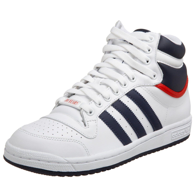 adidas, top ten | adidas top ten hi white navy red adidas