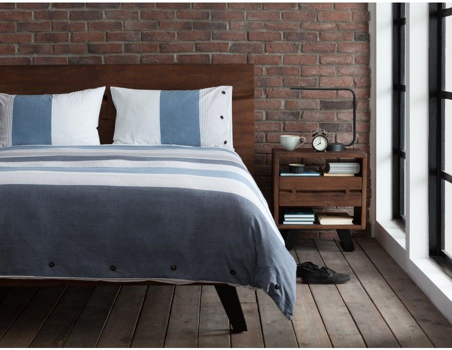 Coastal Solid Acacia Wood Queen Size Bed Brown Latte Bois Base