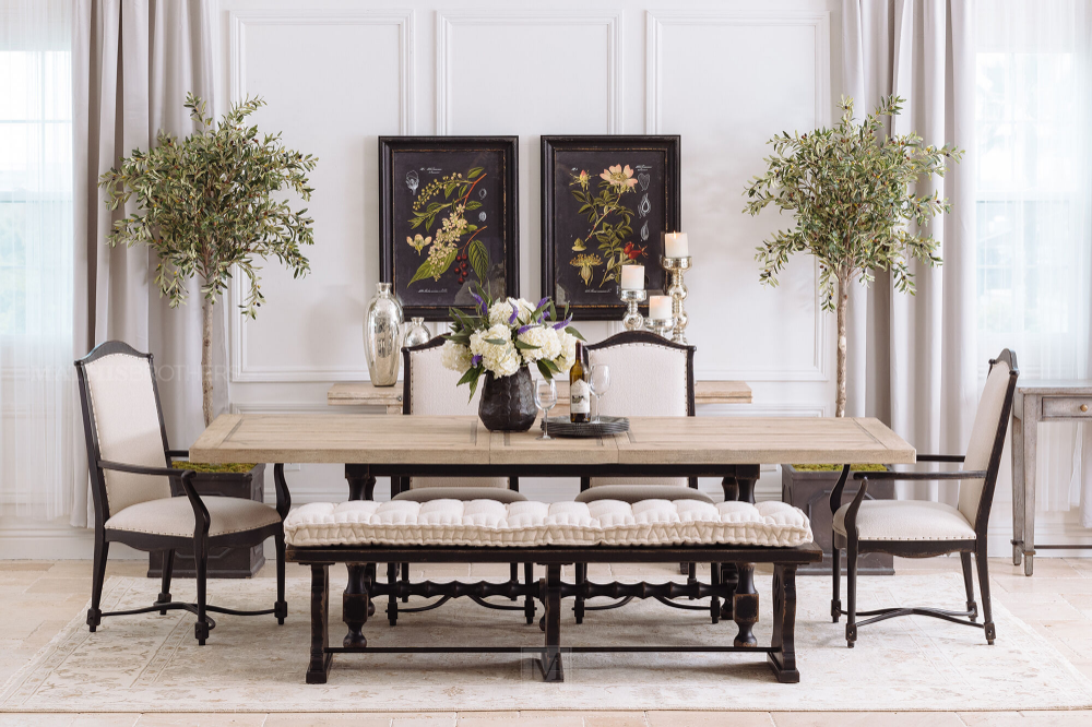 Rectangular Extension 84 To 120 Trestle Dining Table In Flaky
