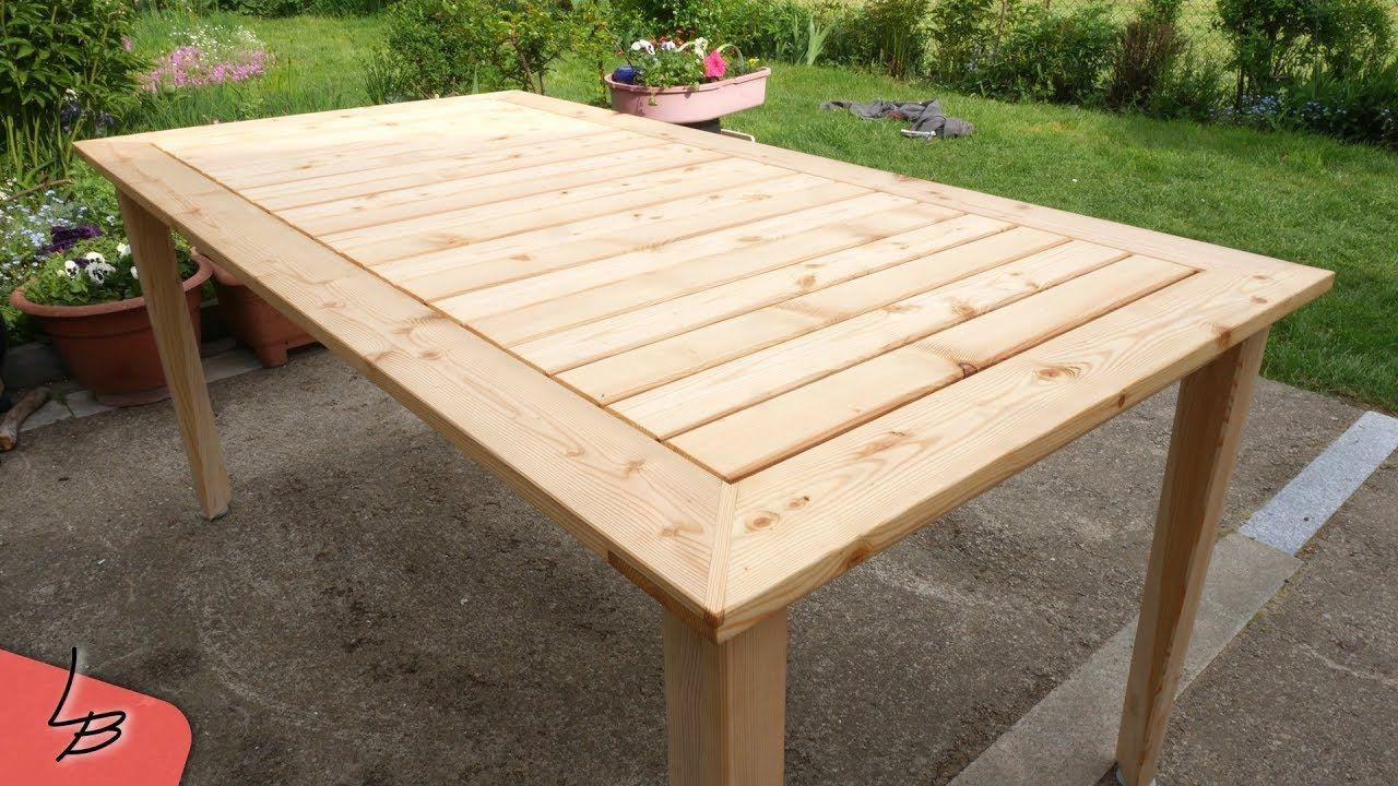 Diy Gartentisch Aus Alten Holzbohlen Selber Bauen Gartentisch