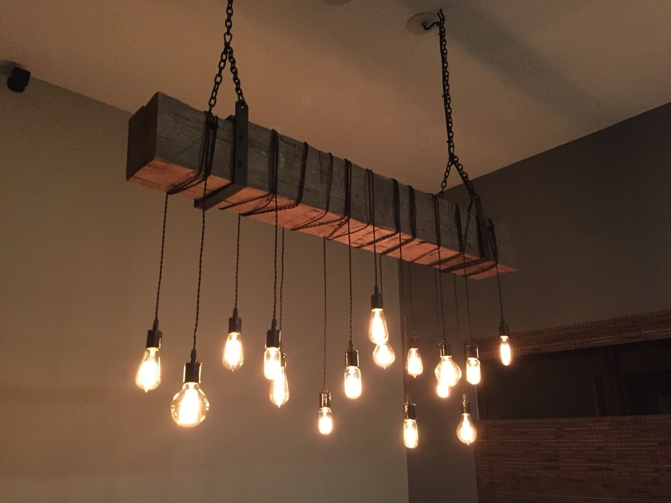 Custom made reclaimed barn beam chandelier light fixture for Industrial design lighting fixtures