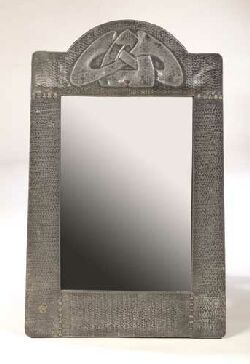 Liberty Co pewter wall mirror designed by Archibald Knox circa