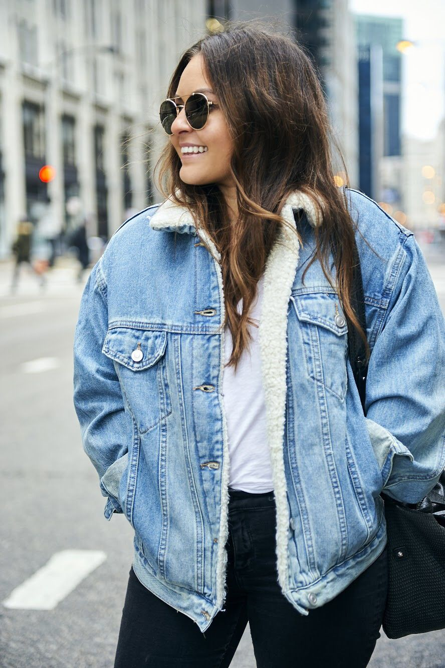 Denim Shearling Jacket Outfits Outfits Denim Jacket Outfit [ 1334 x 888 Pixel ]