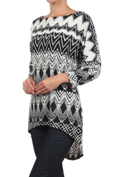 6773c4947a7 New Made USA Black & white Chevron diamond Geo PRINT top Women sizes are S  M L #MadeinUSA #Western #Casual