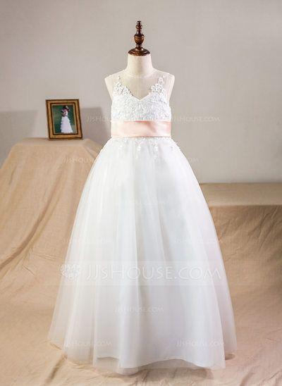 6c4ec3e4e92  US  53.99  Ball Gown Floor-length Flower Girl Dress - Satin Tulle Lace  Sleeveless Scoop Neck With Sash Bow(s) Back Hole (010095159)