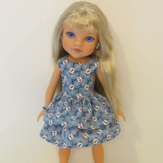 Hearts for Hearts Doll Clothes  Blue Ruffled by AmericAnnMade, $13.00