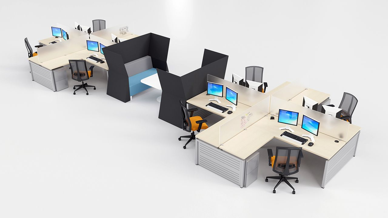 Create Collaborative Open Office Es With Modern Metal Desk And Matching Soft Seating High
